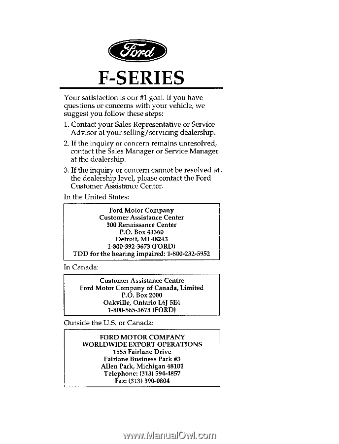 1996 Ford F150   Owner's Manual