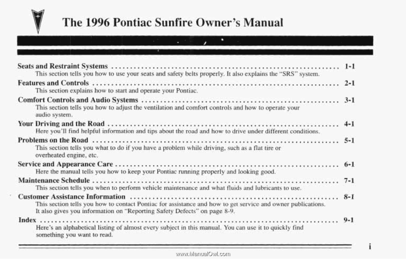 The. 1996. Pontiac Sunfire Owner's Manual