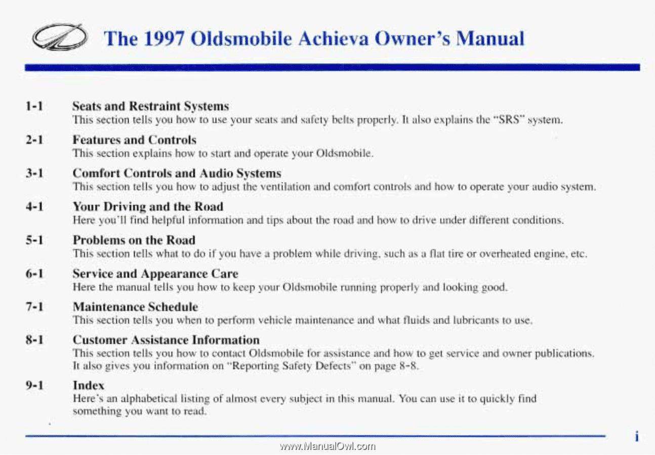 The. 1997. Oldsrnobile. Achieva. Owner's. Manual