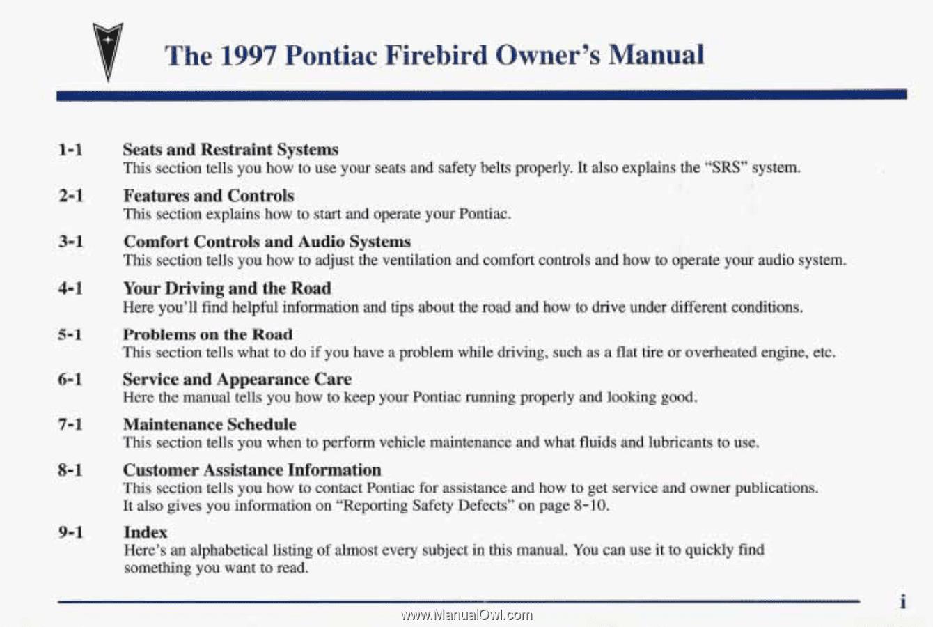 The. 1997. Pontiac. Firebird. Owner's. Manual