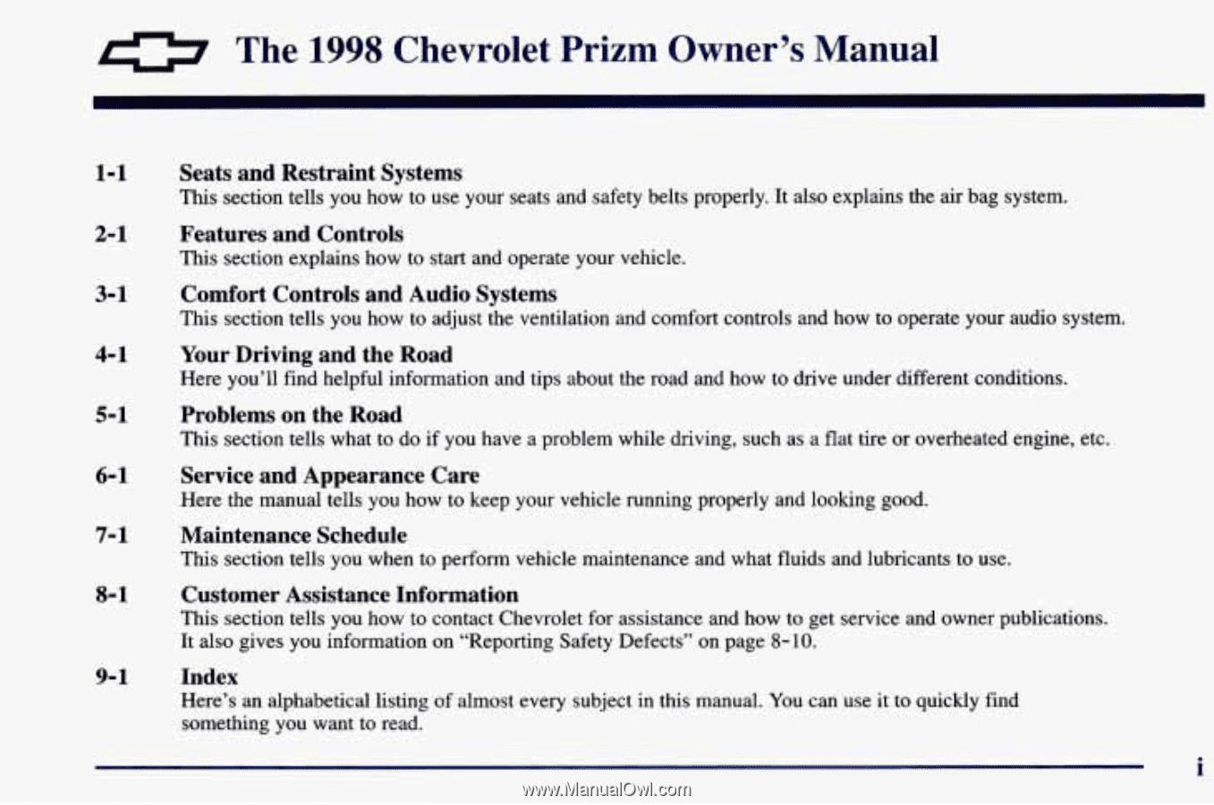 0. The. 1998. Chevrolet. Prizrn. Owner's. Manual
