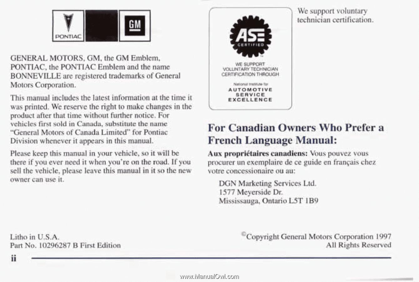 1998 PONTIAC BONNEVILLE OWNERS MANUAL PDF