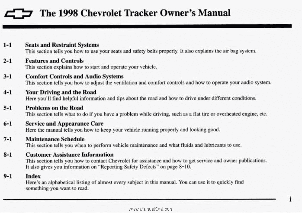 0. The. 1998. Chevrolet. Tracker. Owner's. Manual