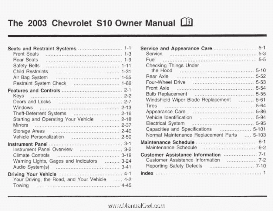2003 chevrolet s10 owners manual