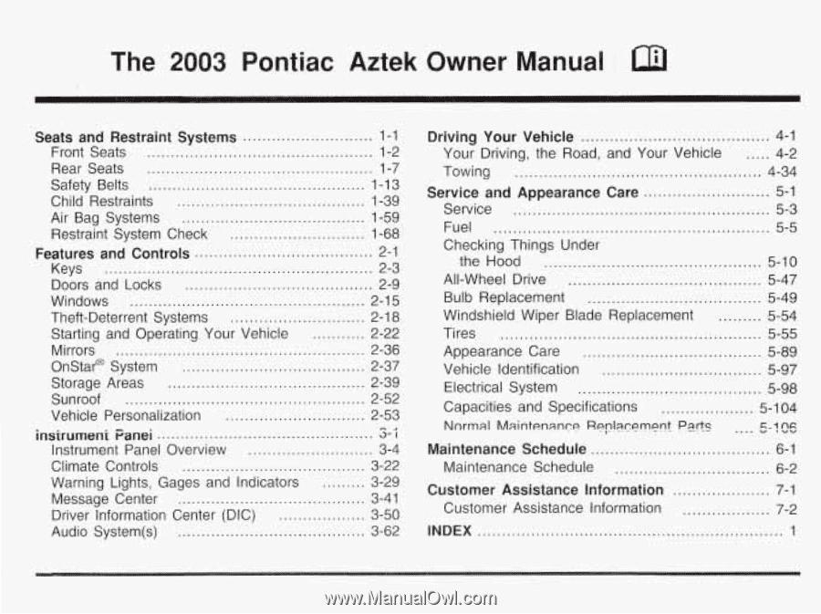 2003 pontiac aztec owners manual today manual guide trends sample u2022 rh brookejasmine co 2003 Pontiac Bonneville Parts Catalog 2003 Pontiac Aztek Specs
