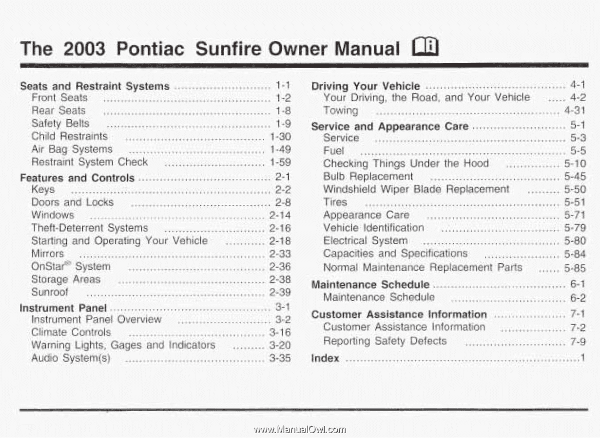 The. 2003. Pontiac Sunfire Own. r. Manual