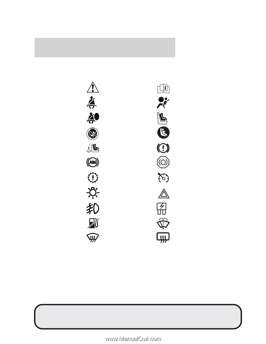 These are some of the symbols you may see on your vehicle.