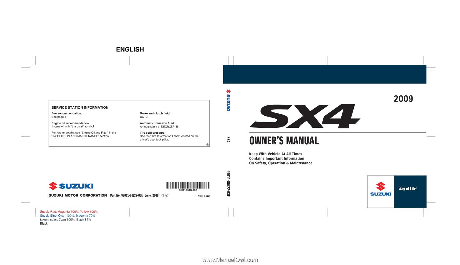 2008 Suzuki Sx4 Owners Manual Wiring Diagram 2009 Owner S Rh Manualowl Com Pdf