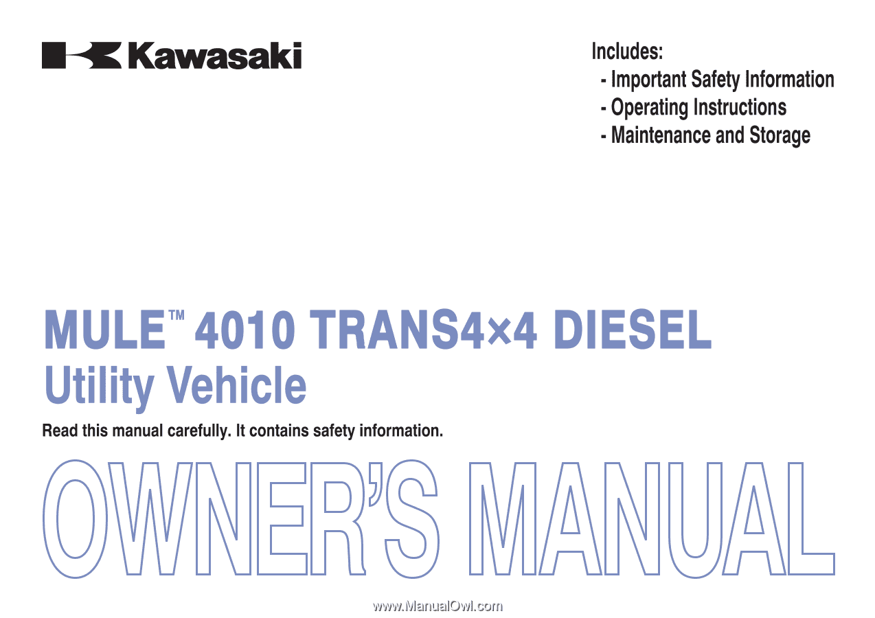 2013 Kawasaki Mule 4010 Trans4x4 Diesel Owners Manual Fuel Filter Quick Reference Guide
