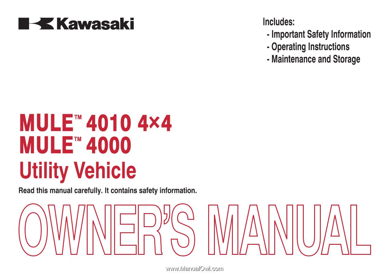 2014 Kawasaki MULE 4010 4x4   Owners Manual