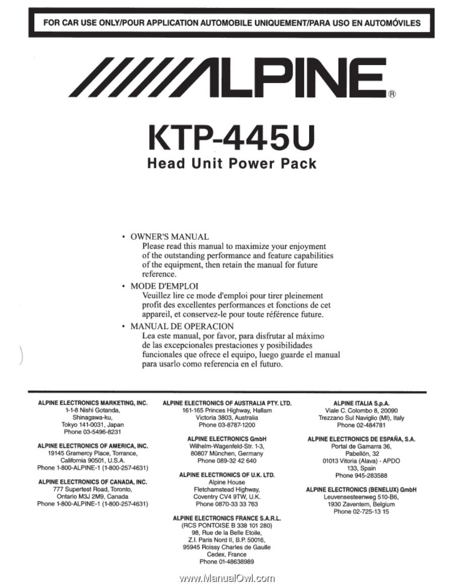 alpine ktp 445u owners manual rh manualowl com Alpine Car Audio Alpine Auto Stereo Systems
