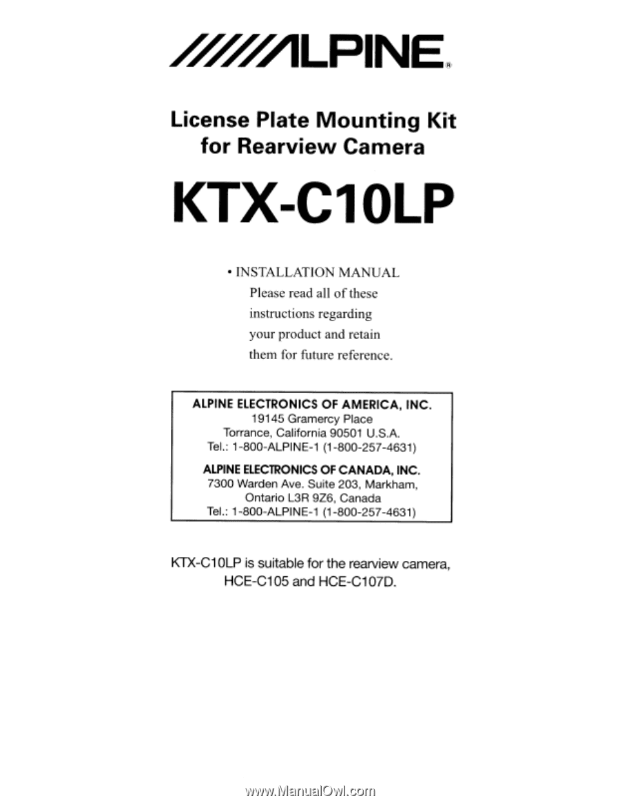 Alpine Ktx C10lp Installation Manual Navigation Wiring Diagram License Plate