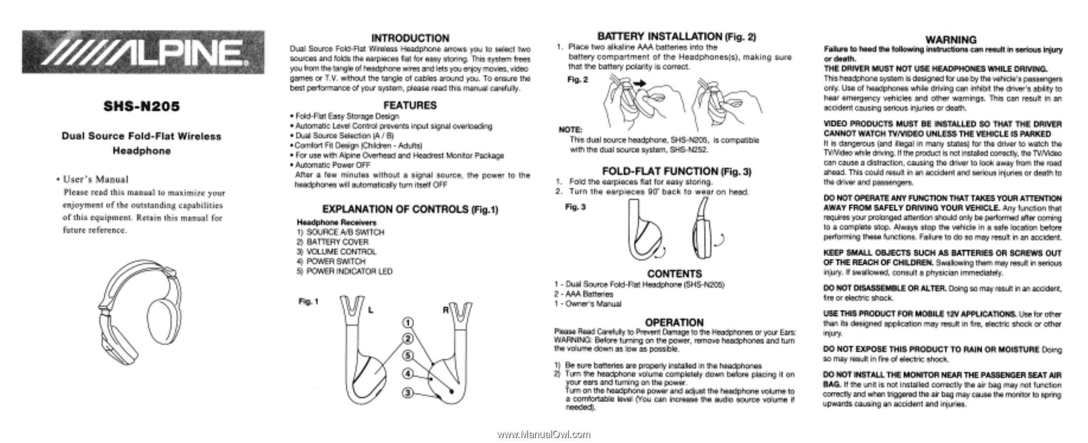 Alpine SHS-N205 | User Manual