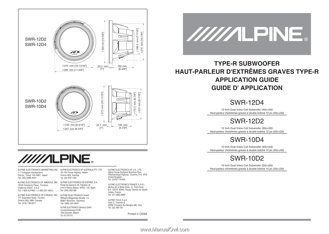 [DIAGRAM_5NL]  Alpine SWR-12D2 | Owner's Manual (swr-10d4, Swr-10d2, Swr-12d4, Swr-d2) | Alpine Swr 12d2 Wiring Diagram |  | Manual Owl
