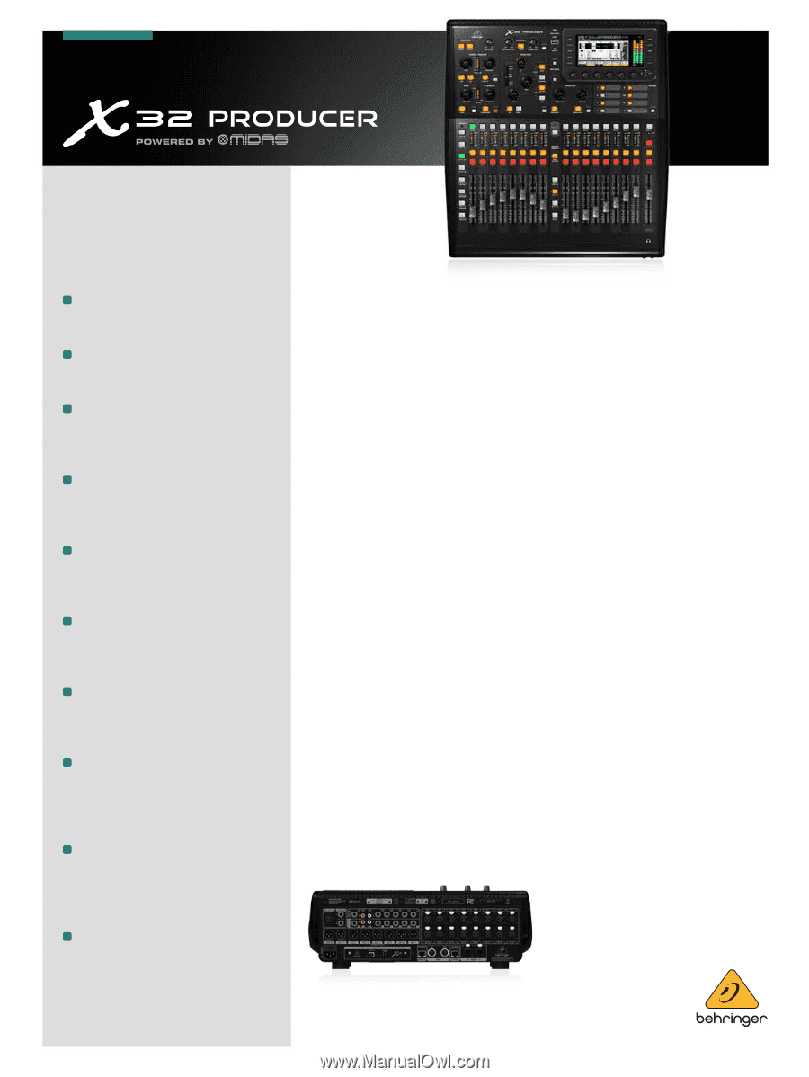 behringer digital mixer x32 producer brochure. Black Bedroom Furniture Sets. Home Design Ideas