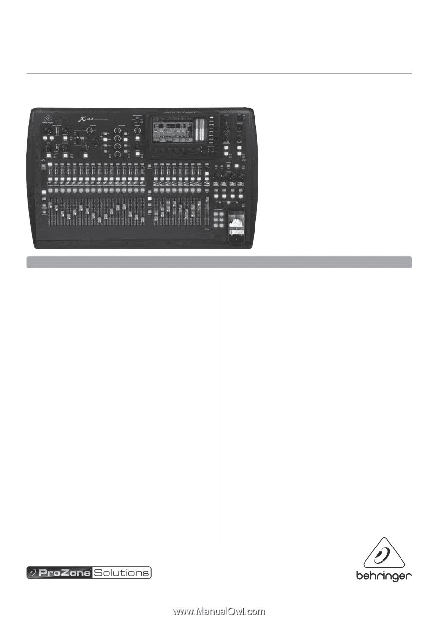 behringer digital mixer x32 specifications sheet. Black Bedroom Furniture Sets. Home Design Ideas