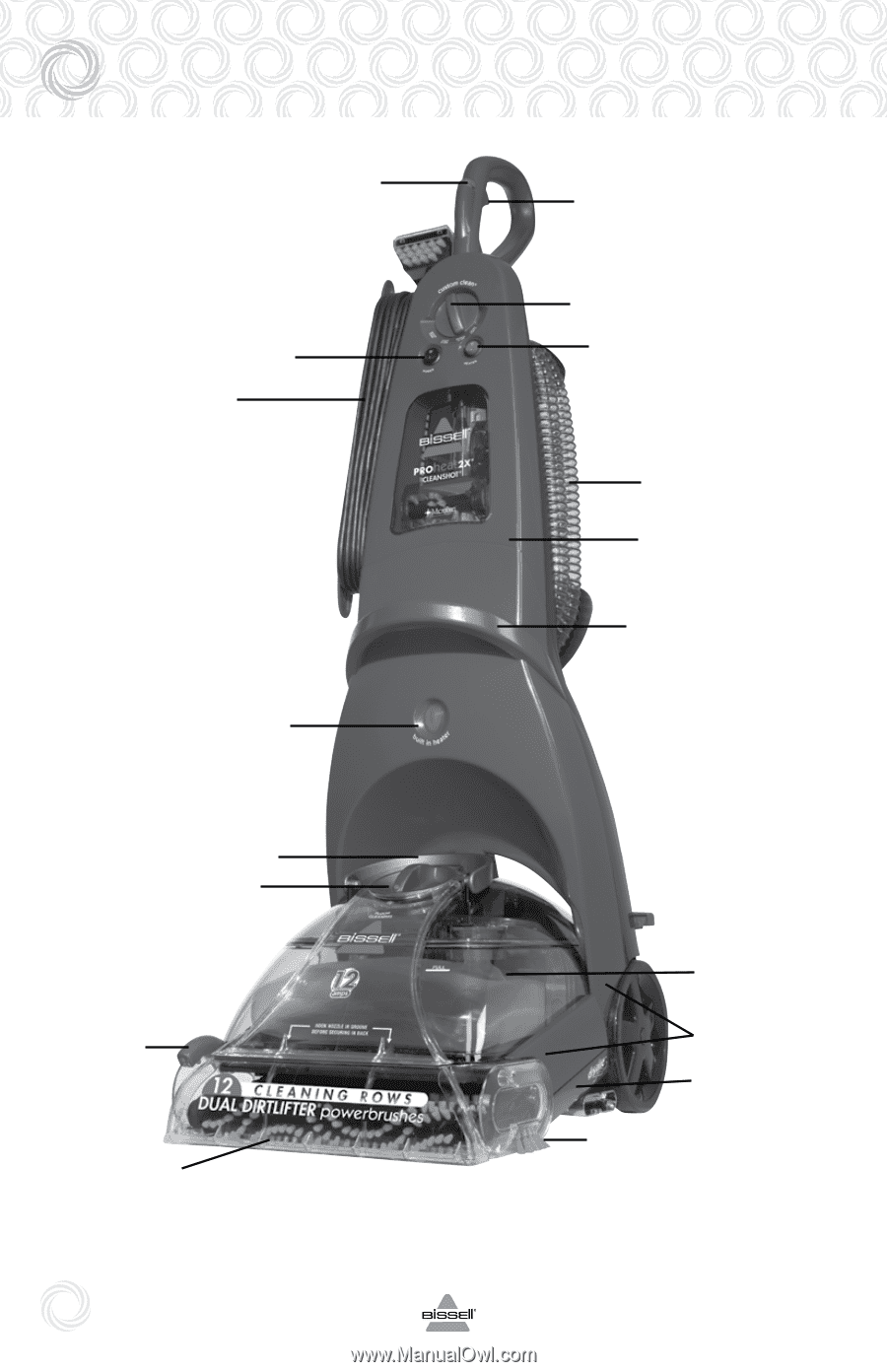 Bissell Proheat 2x Cleanshot Upright Deep Cleaner 9500 Manual Parts Diagram 1698 Powersteamer B I S E L C O M Schematic