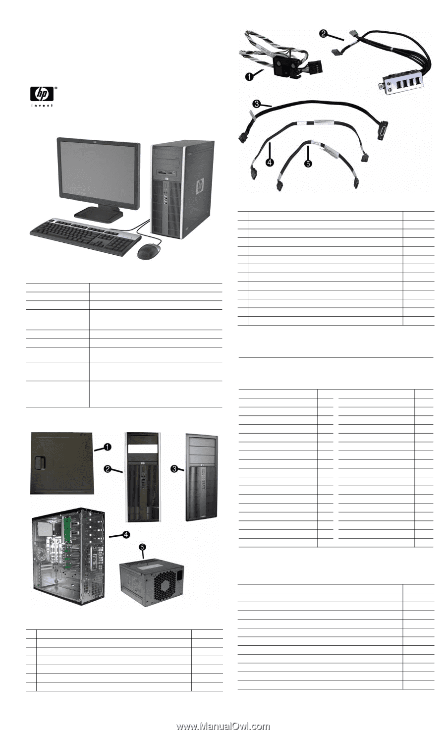 Compaq 8100 | Illustrated Parts & Service Map: HP Compaq