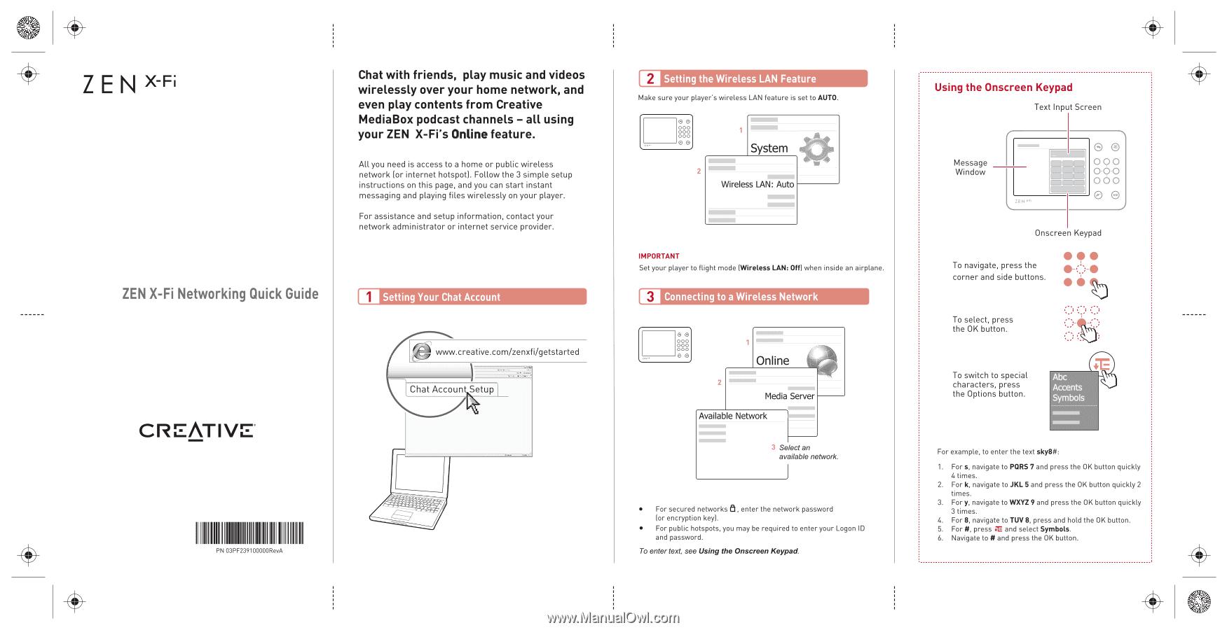 Creative Zen X Fi With Wireless Lan Zen X Fi Networking Quickstart