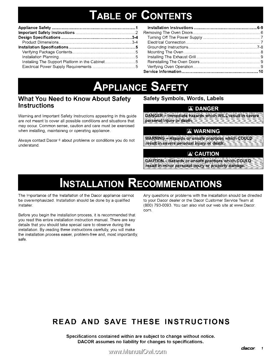 Dacor Ecs136sch Installation Instructions Wall Oven Wiring Diagram Appliance