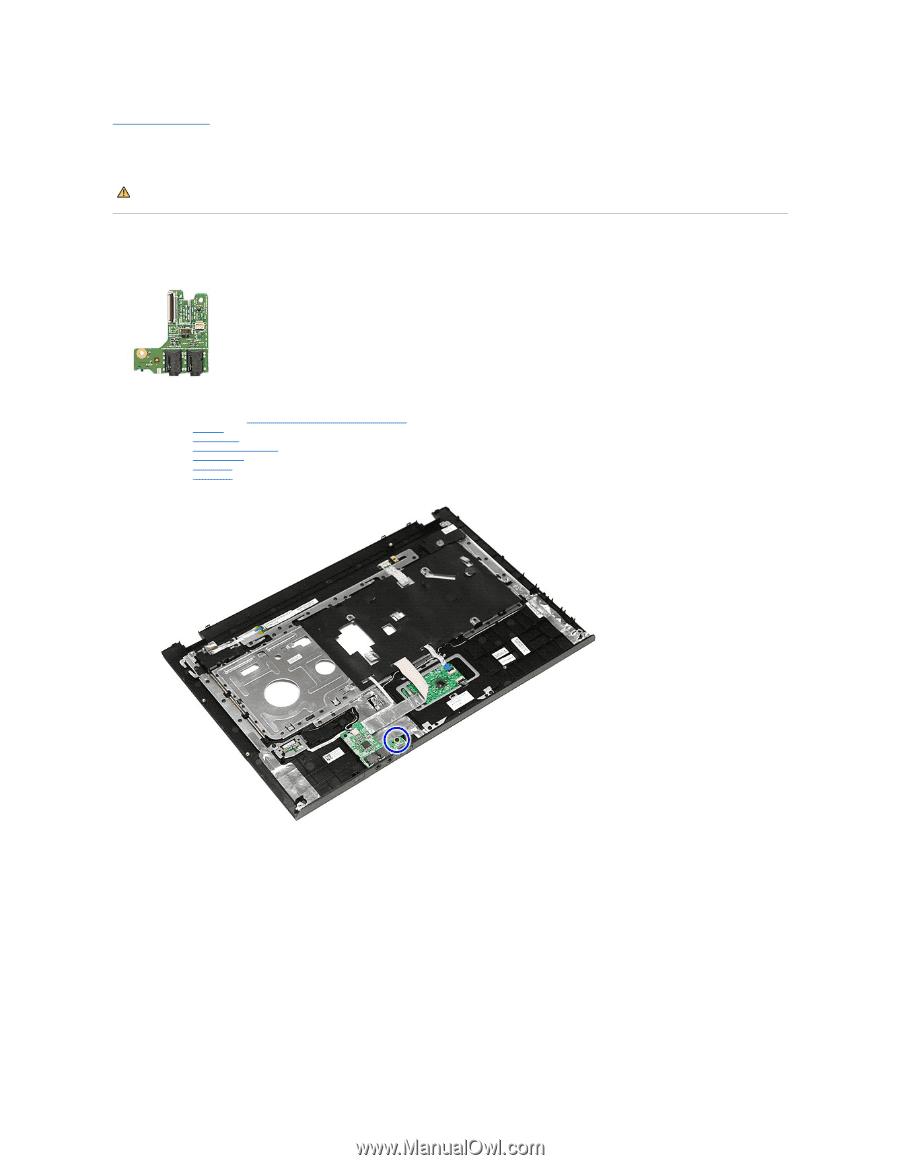 Back to Contents Page. Audio Board. Dell™ Vostro™ 3500 Service Manual