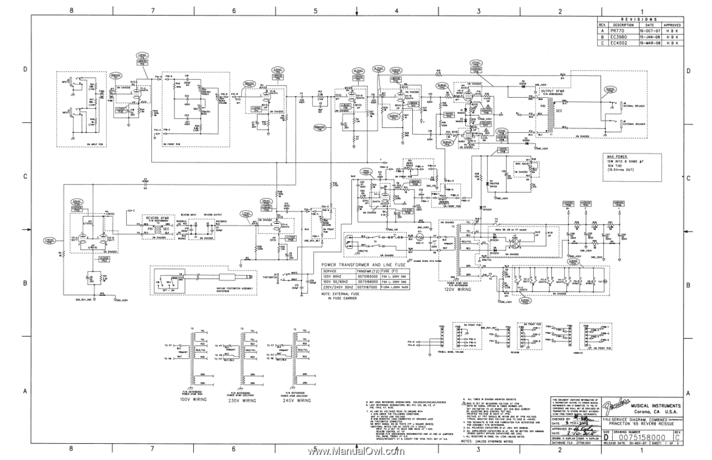 Fender 3965 Princeton Reverb | 65 Princeton Reverb Schematic on technical drawing, functional flow block diagram, block diagram, tube map, piping and instrumentation diagram, one-line diagram, circuit diagram,