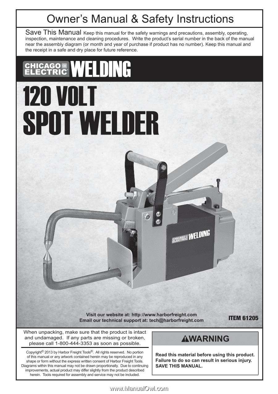 Harbor Freight Tools 61205 User Manual Diagram Of Welding Page 2