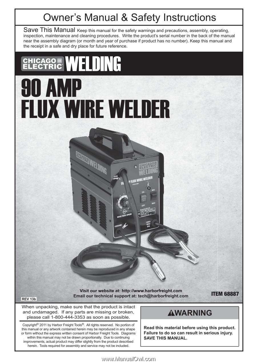 Harbor Freight Tools 68887 User Manual Welding Gun Diagram Page 2