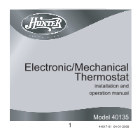 Hunter 40135 Owner's Manual. Wiring. Hunter 5 Wire Thermostat Diagram 40135 At Scoala.co