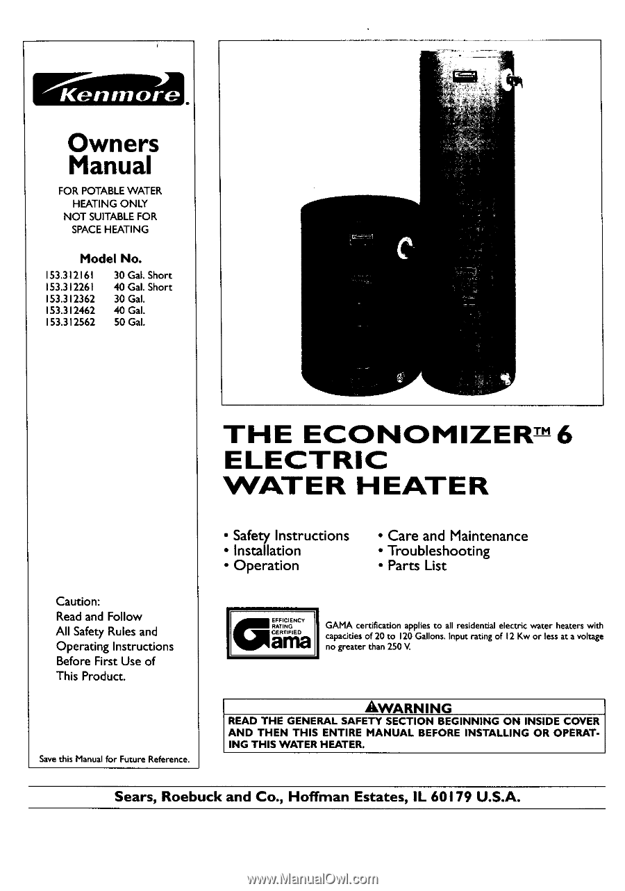 Kenmore Electric Water Heater Wiring Diagram Trusted Diagrams He4 Heating Element 33124 Owners Manual Hot
