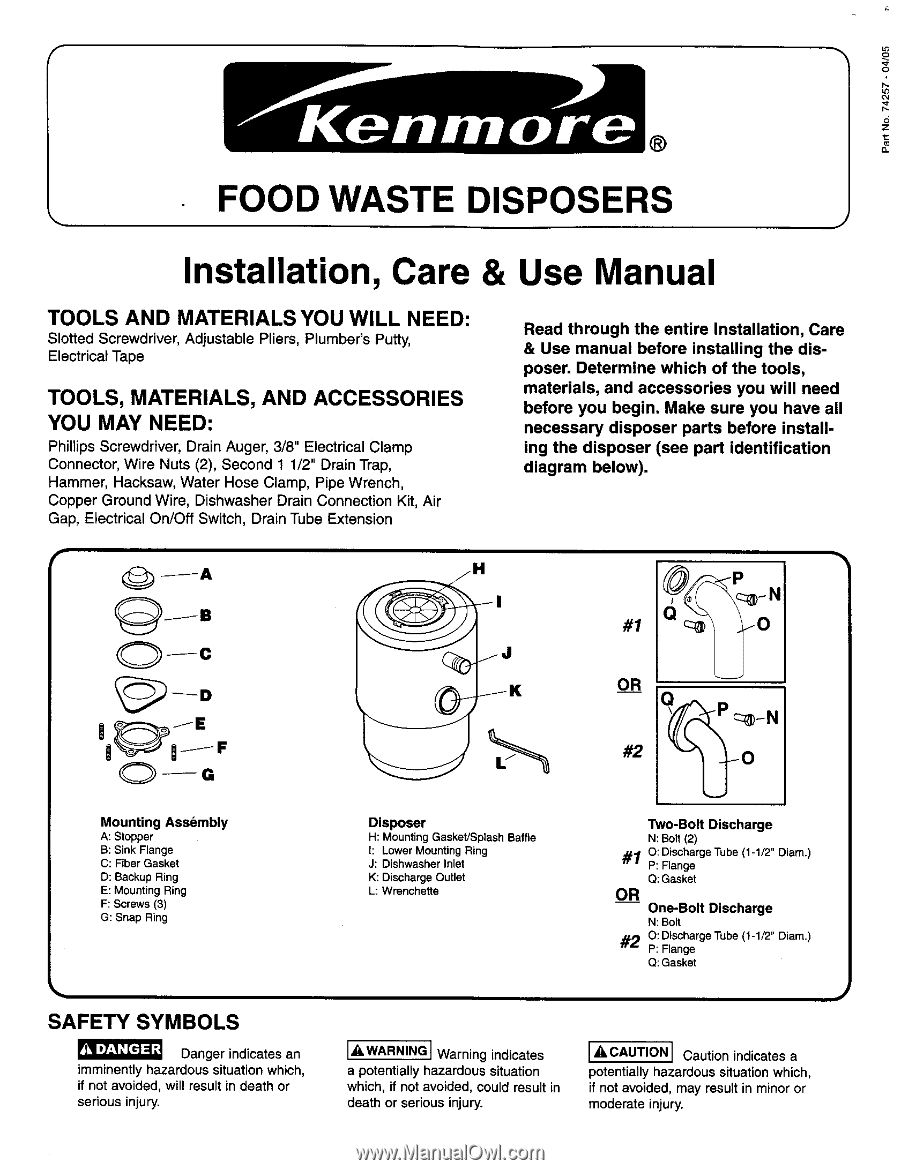 Kenmore 60581 Use And Care Guide