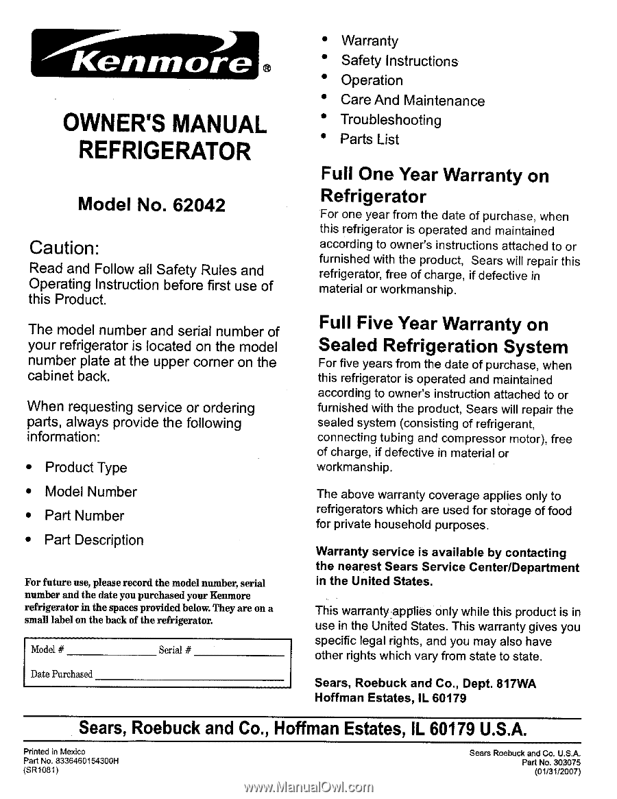 OWNER'S MANUAL. REFRIGERATOR