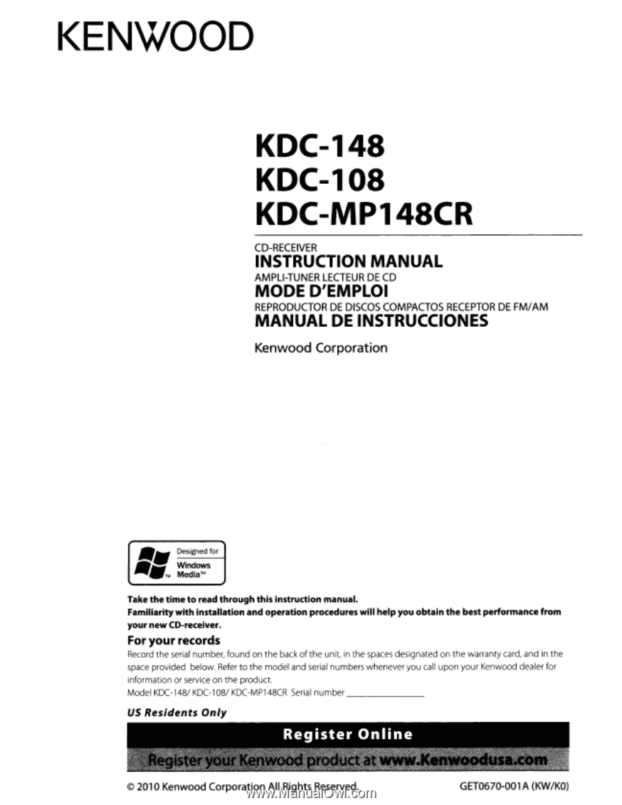 Kenwood Model Kdc Manual Guide