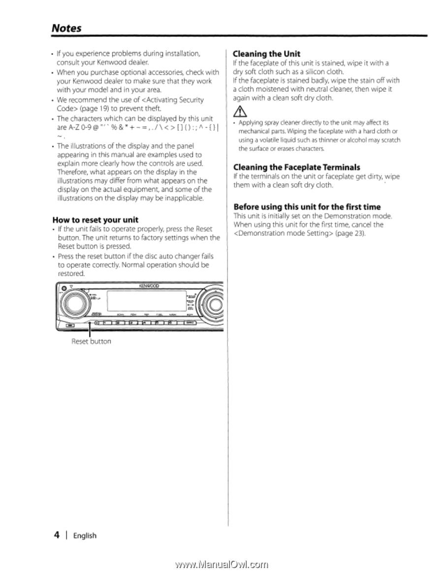 Kenwood KDC-MP3035 | Instruction Manual