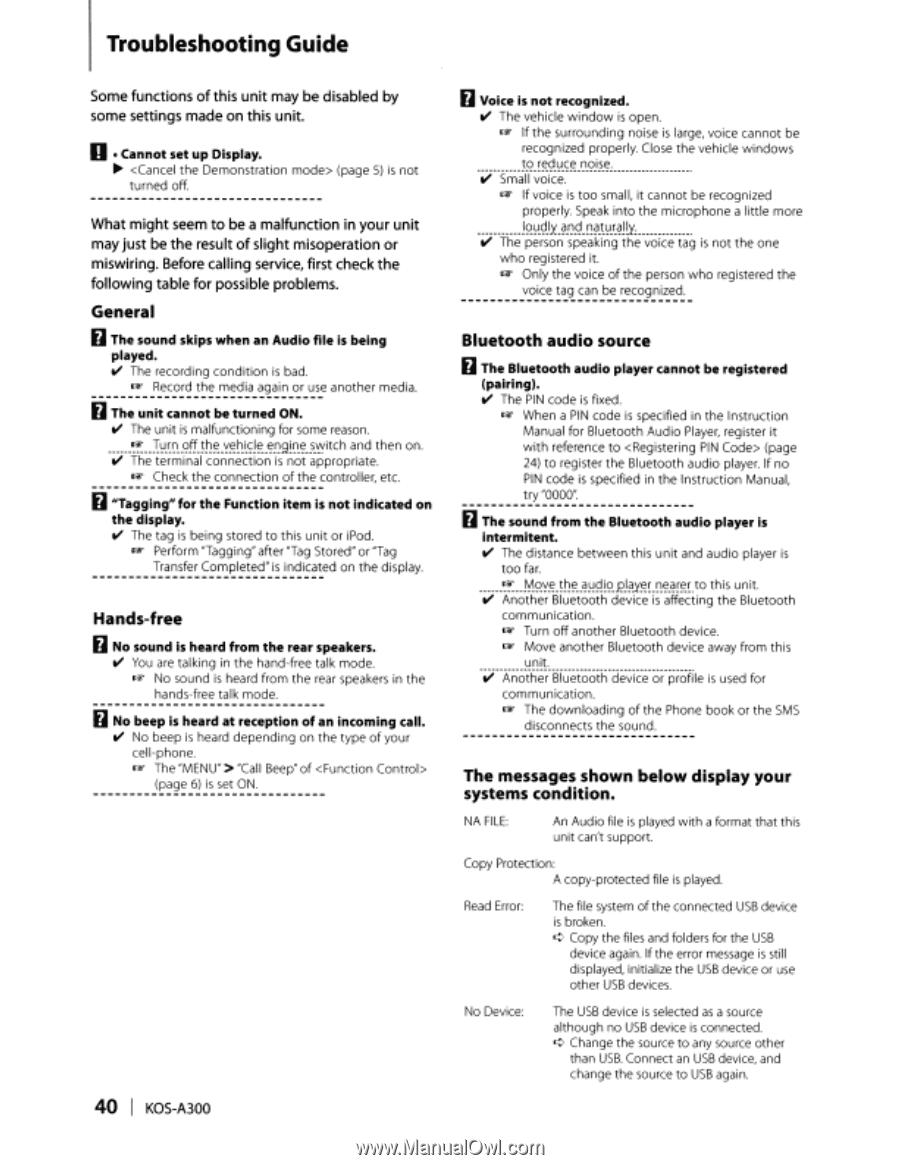 Kenwood KOS-A300 | Instruction Manual - Page 38
