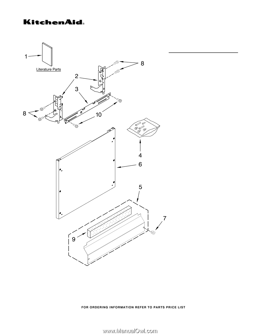 Door And Latch Parts Diagram And Parts List For Kitchenaid Dishwasher