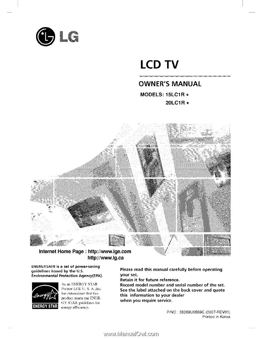 lg 20lc1r owners manual rh manualowl com LG Touch Phone Operating Manual LG Cell Phone Operating Manual