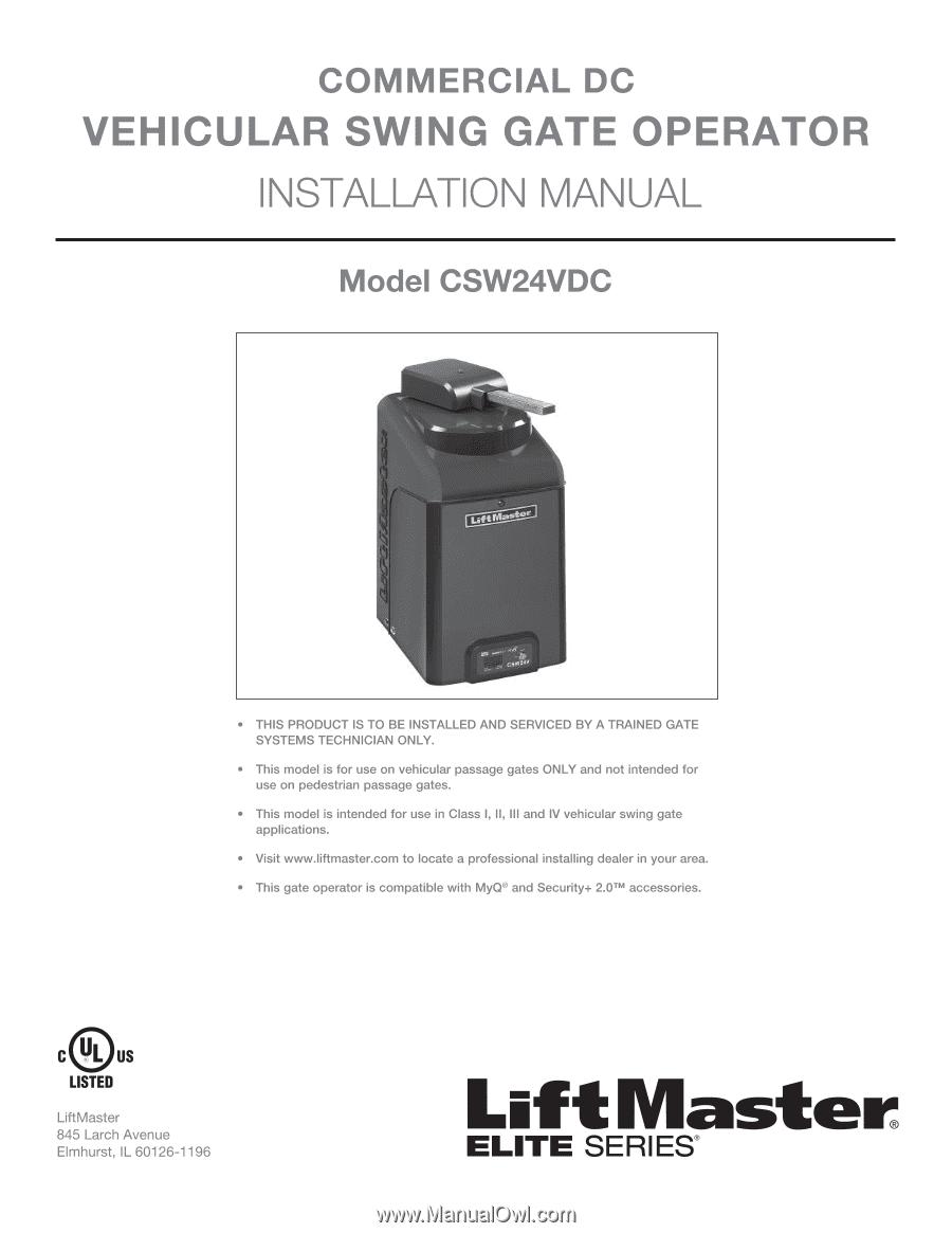 Liftmaster Csw24vdc Csw24vdc Installation Manual