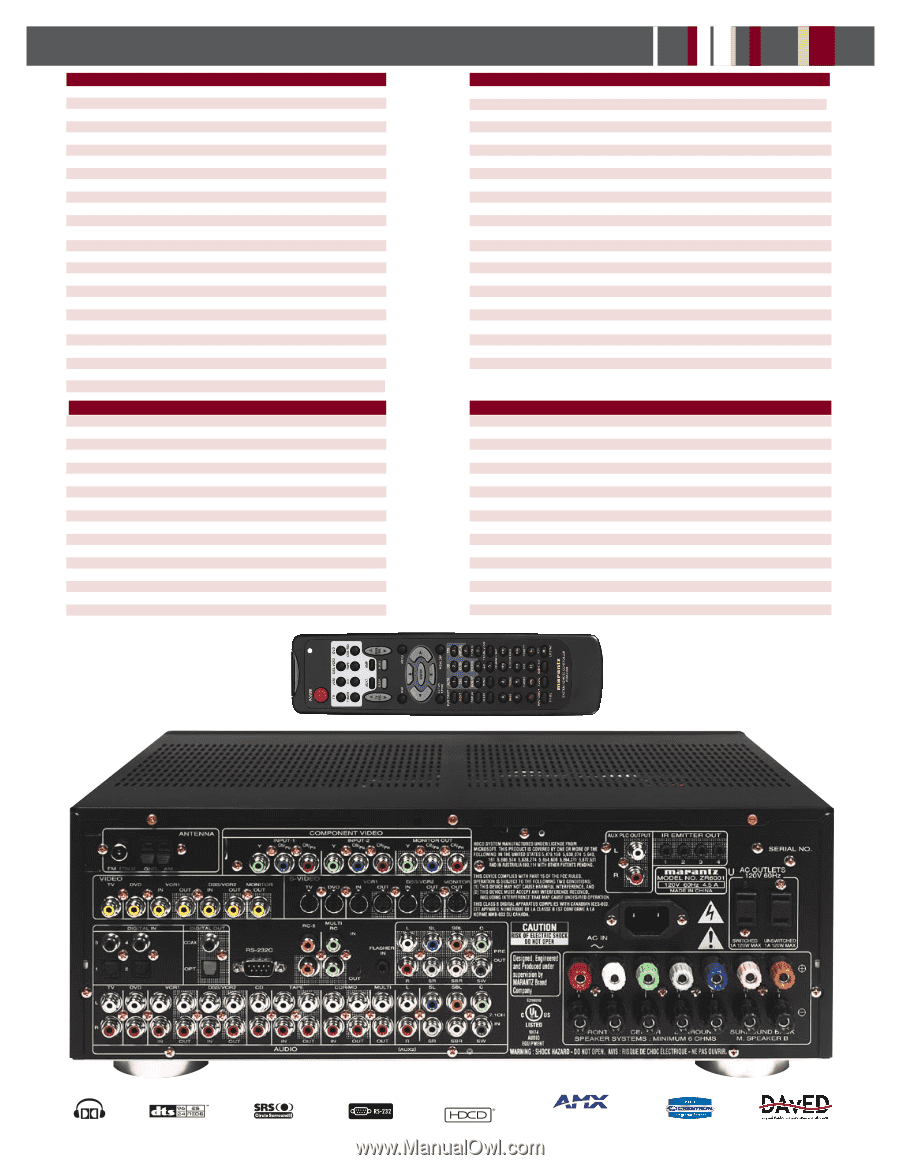Marantz Zr6001sp Manual Bolens G 12xl Wiring Diagram Array Zc4001 Specification Sheet Rh Manualowl Com