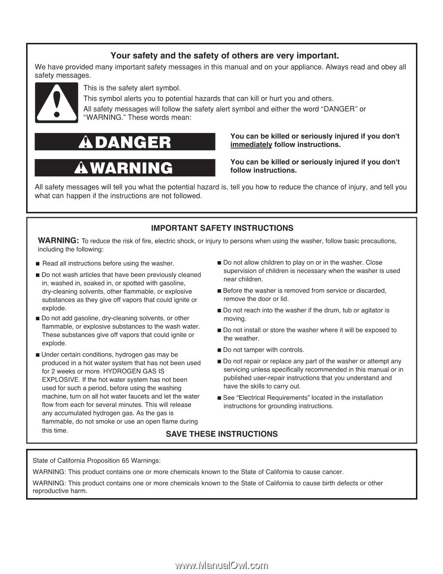 Maytag MVWX655DW   Use & Care Guide - Page 1