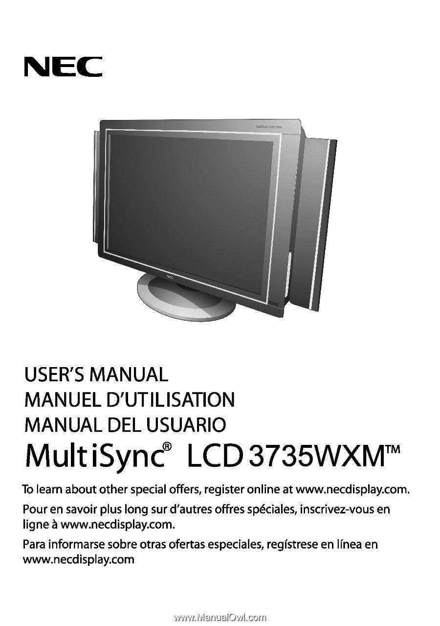 ... Array - nec lcd3735wxm multisync lcd3735wxm user manual rh manualowl com