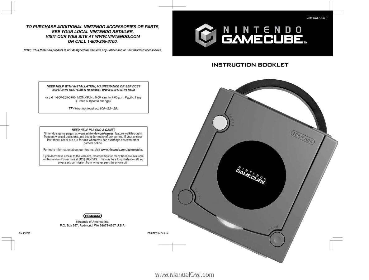 nintendo gamecube instruction booklet