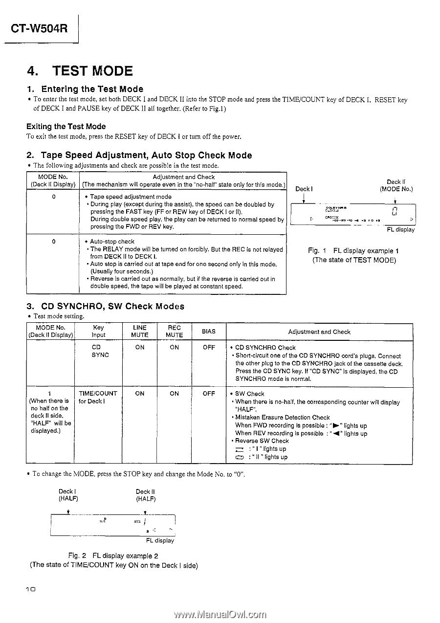 Pioneer Test Mode