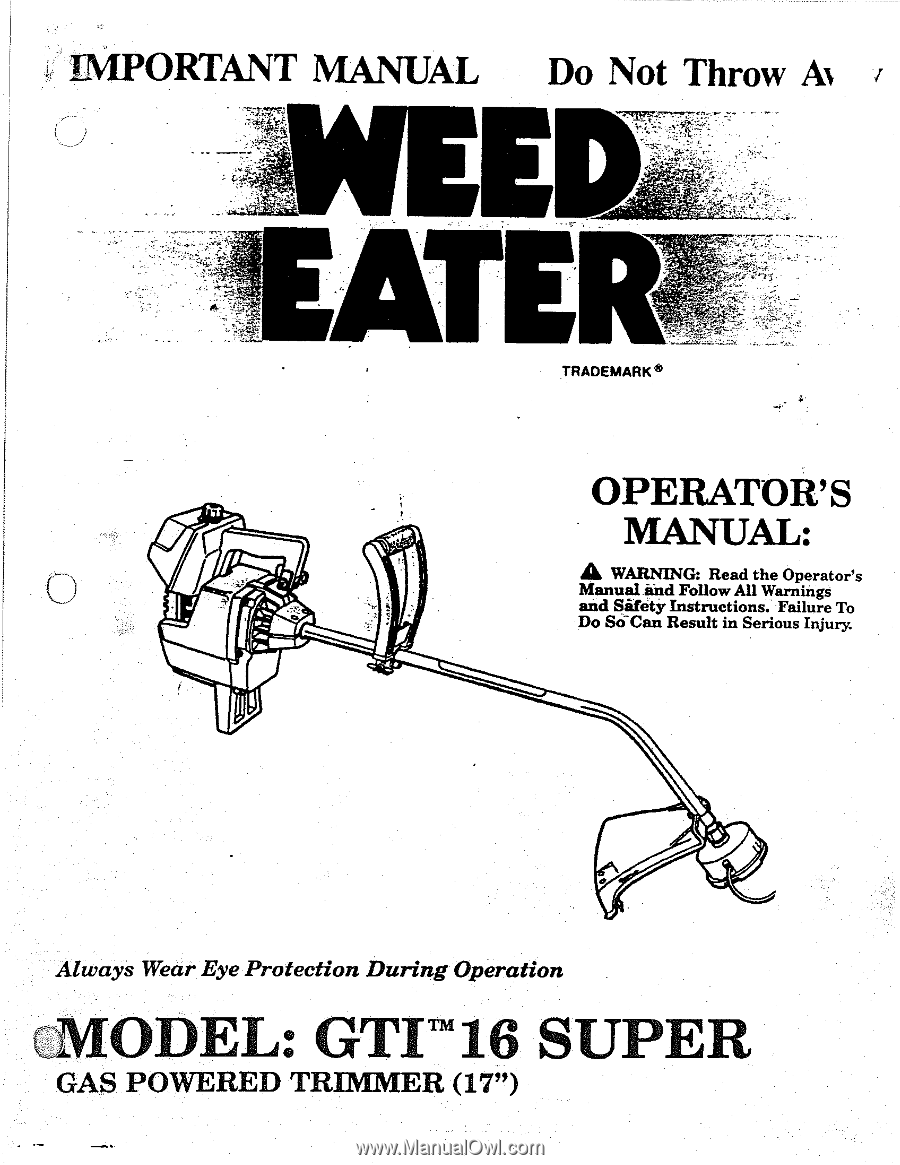 All About Weed Eater One We261 Operators Manual Pdf Download Pl200 Parts List And Diagram Type 1 Ereplacementparts