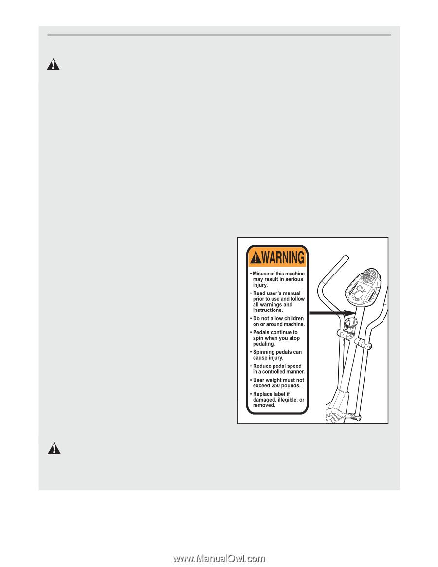 Proform crosstrainer 800 elliptical manual.