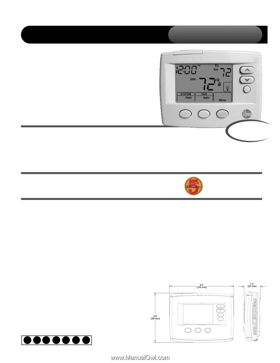 Ruud 200 Series Thermostat Manual Water Heater Wiring Rheem Instruction Rh Manualowl Com Rhc Tst213unms