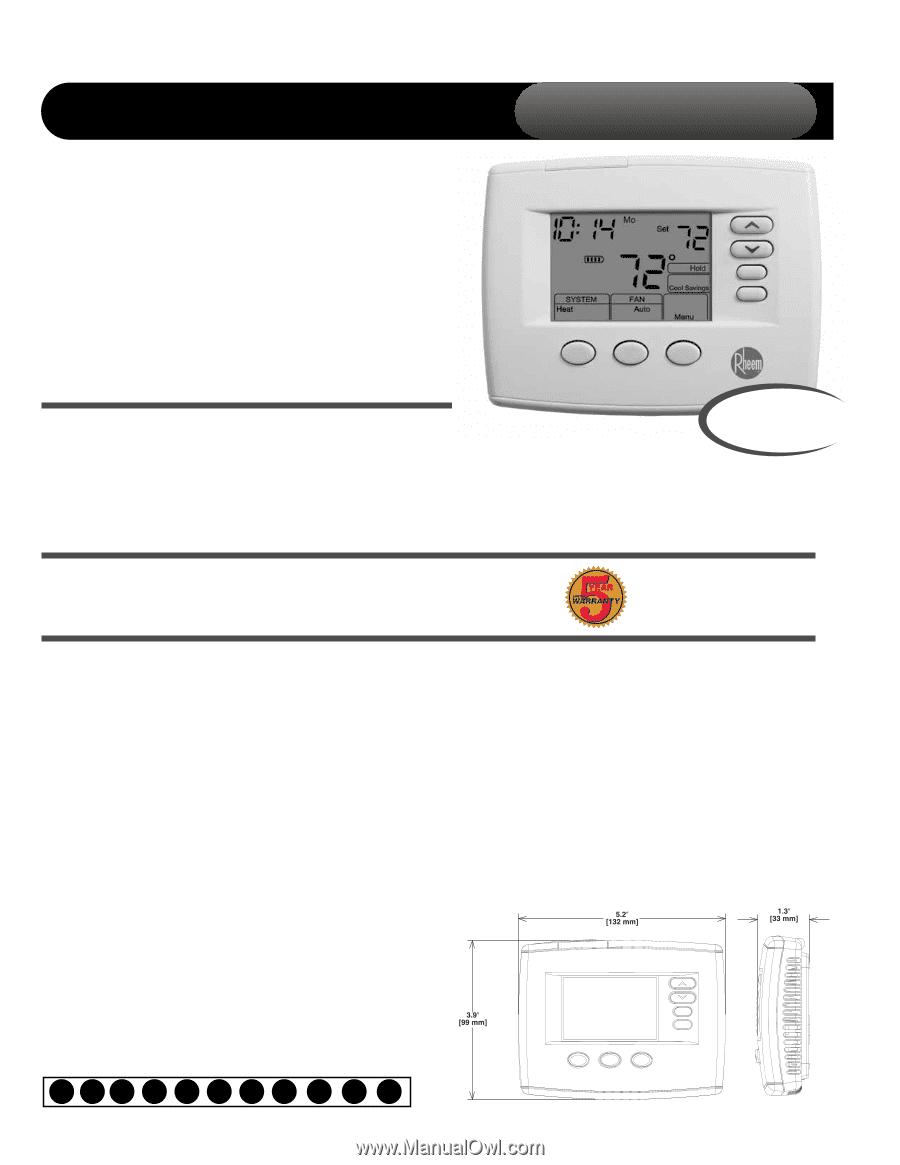 Rheem 200 Series Thermostat Manual Digital Wiring Diagram Ruud Instruction Rh Manualowl Com 500