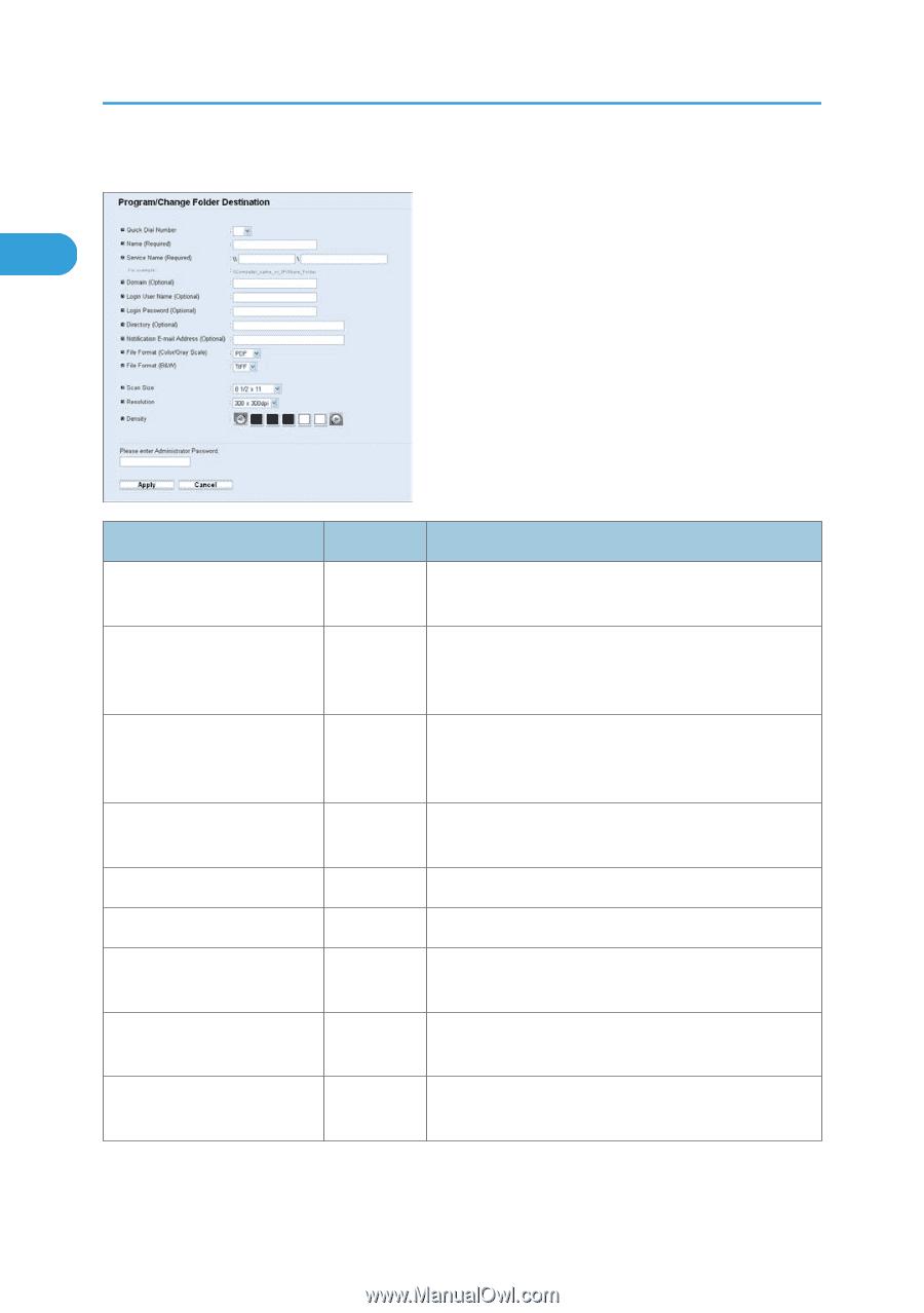 Scan to Folder Settings