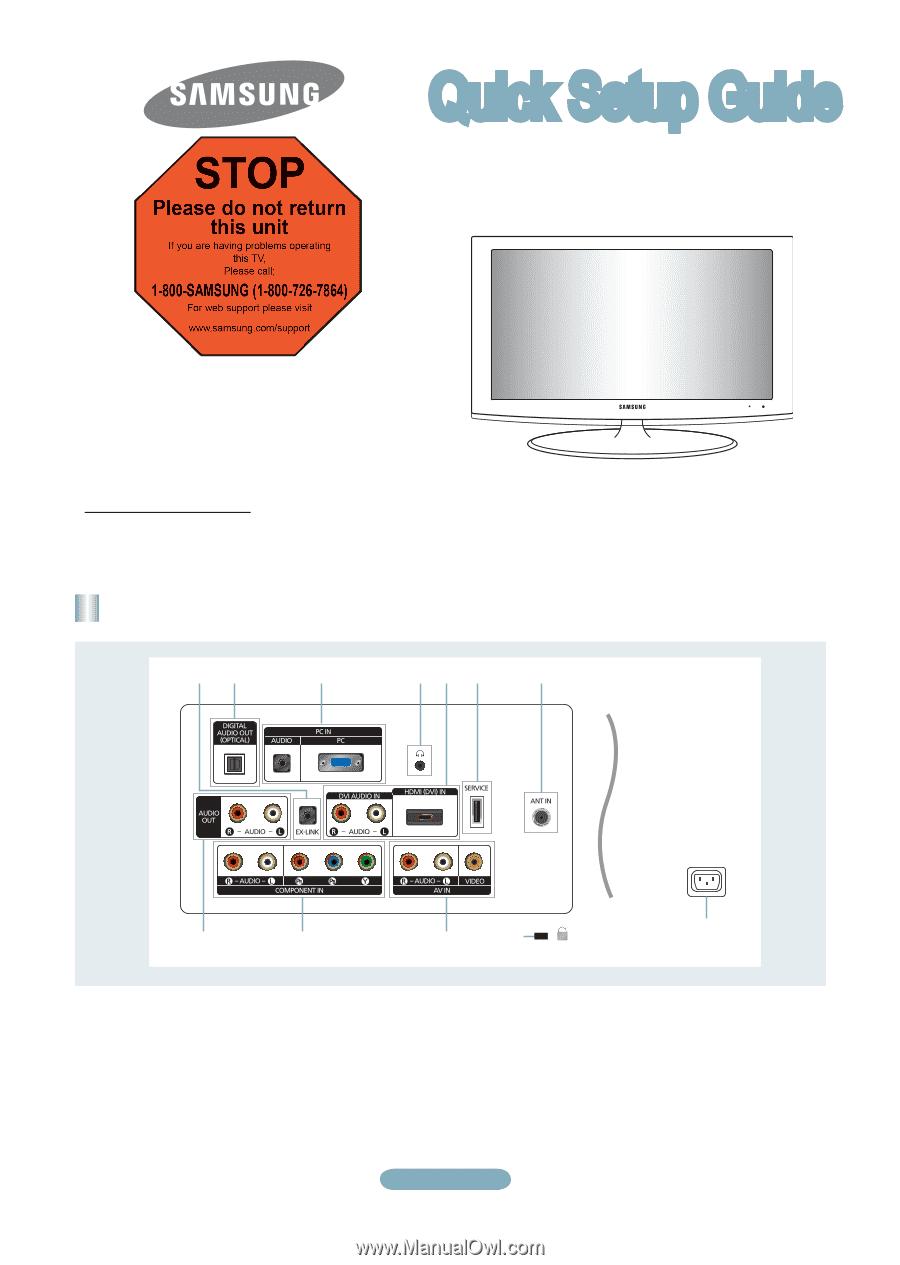 Samsung Ln22b360 Quick Setup Guide