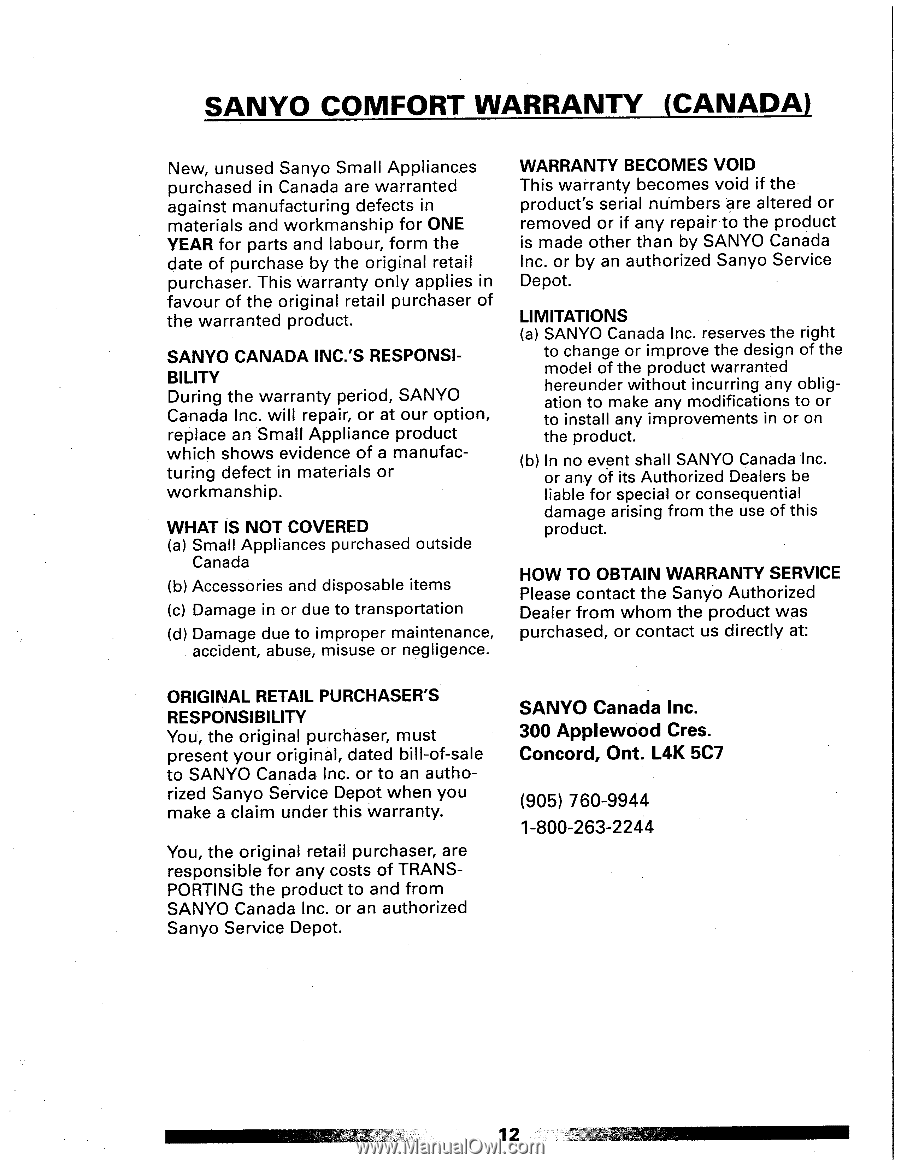 Sanyo EC-503 | Owners Manual - Page 11